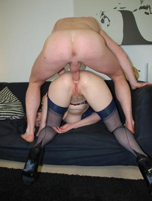 Blonde gilf in tights fucking and sucking 9